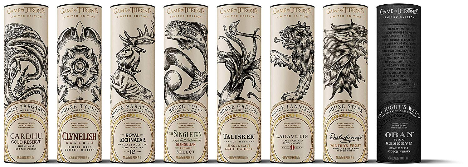 The Game of Thrones Single Malt Scotch Whisky Collection 8 Bottles Set